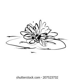 Grunge elegance ink splash illustration of water lily