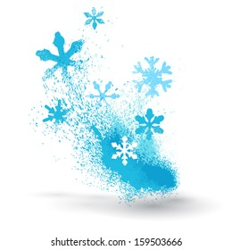 Grunge element of snowflakes and splatter
