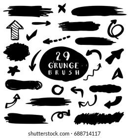 Grunge elements set. Brush black paint, ink, dirty brush strokes, vector grunge elements.