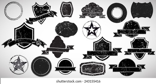 Grunge Elements for your Design . Banners, Stamps, Logos, Icons, Labels and Badges Set .