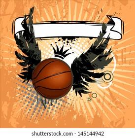 Grunge emblem, winged basketball ball and design elements
