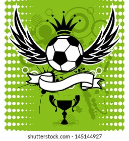 Grunge emblem, winged soccer ball and design elements