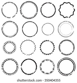 Grunge empty rubber stamps, set, graphic design elements, black isolated on white background, vector illustration.