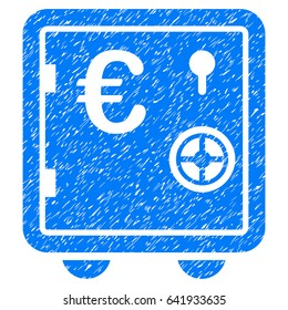 Grunge Euro Banking Safe icon with grunge design and dirty texture. Unclean vector blue pictogram for rubber seal stamp imitations and watermarks. Draft sign symbol.