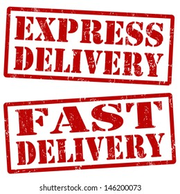 Grunge express delivery and fast delivery rubber stamps, vector illustration