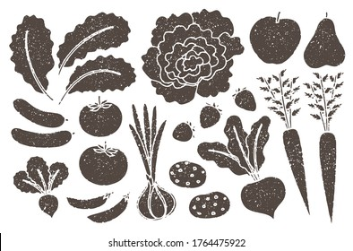 Grunge farm produce set with grainy texture. Kale, lettuce, onion, cucumber, tomato, radish, snap pea, apple, pear, carrot, strawberry, beet root, potato.