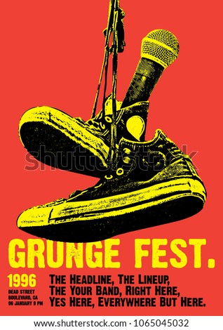 Grunge Festival Flyer Poster Template Stock Vector Royalty Free