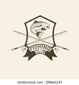 grunge fishing club crest with trout