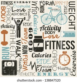 grunge fitness background, vintage style. vector illustration