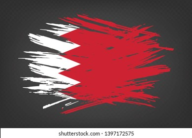 Grunge flag of Bahrain. Vector illustration of a grunge texture on a transparent background.