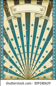 grunge flag blue sunbeams. A vintage and retro style blue poster with a texture.