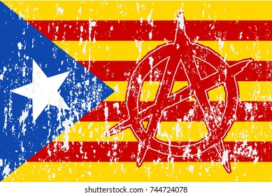 Anarchy sign vector image 431837029 shutterstock grunge flag of catalonia with a sign of anarchy vector illustration voltagebd Gallery