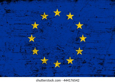 Grunge flag of European Union.Vector flag of EU.