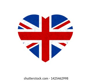 Grunge flag of Great Britain, UK. Isolated English banner with scratched texture  in shape heart. Vector icon of flag of England with marble textured background, vintage. Horizontal orientation.