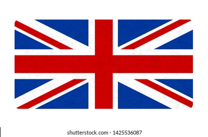Grunge flag of Great Britain, UK. Isolated English banner with scratched texture. Flat style with noise, marble textured background, vintage. Vector icon of flag of England. Horizontal orientation.