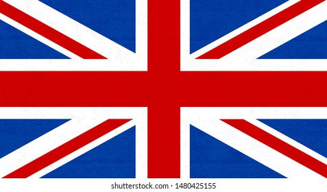 Grunge flag of Great Britain, UK. Isolated English banner with scratched texture on denim fabric. Vector icon of flag of England with noise, marble textured background, vintage. Horizontal.