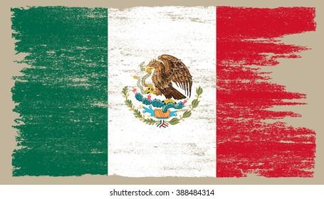 Grunge flag of Mexico.Vector flag of Mexico.