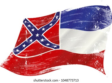A grunge flag of Mississippi in the wind