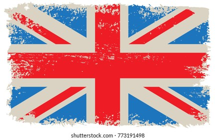 Grunge flag of UK.Old British flag.