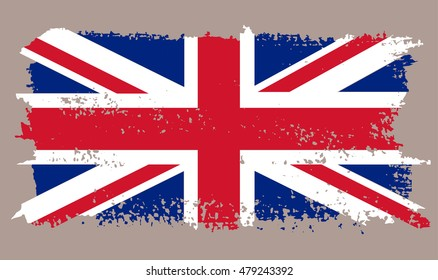 Grunge flag of UK.Old British flag.Vector.