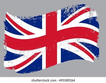 Grunge flag of UK.Old British flag.Vector