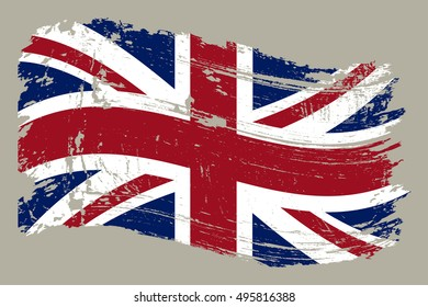 Grunge flag of UK.Old British flag.Vector