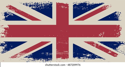 Grunge flag of UK.Old United Kingdom flag.Vector template.