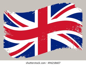 Grunge flag of UK.British flag.Vector template.