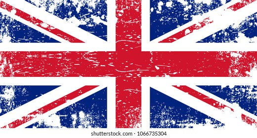 Grunge flag of the United Kingdom. The United Kingdom flag. Abstract scratched flag. Vector eps10