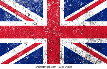 Grunge flag of the United Kingdom.Vector British flag.