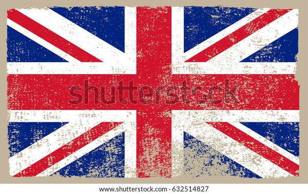 Grunge flag of the United Kingdom.Vector British flag.