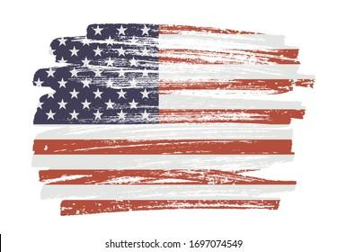 Grunge flag of the United States.Brush stroke USA flag.