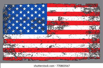 Grunge flag of United States.Vector American flag.