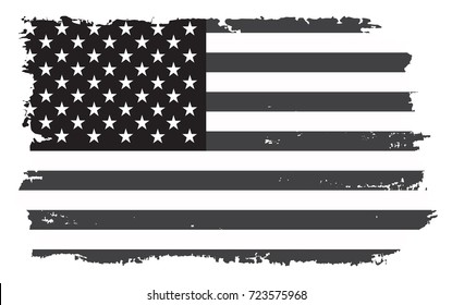 Grunge flag of United States.Vector black and white American flag.
