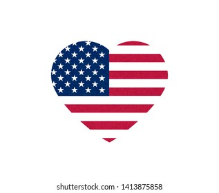 Grunge flag of USA. Isolated American banner with scratched texture in heart. Flat style, vector with noise, marble textured background. Horizontal orientation.