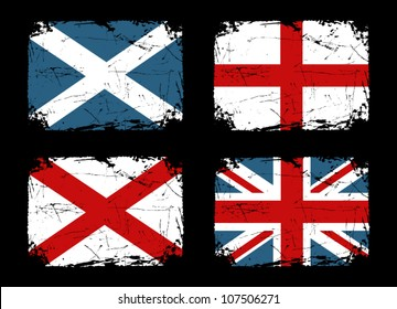 Grunge flags of Scotland, England and Ireland and the Union Flag of the United Kingdom.
