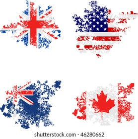 Grunge flags of the UK, USA, Australia, Canada