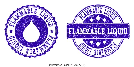 Grunge Flammable Liquid stamp seal imprints. Flammable Liquid text inside blue distress rubber seals with grunge texture. Rectangle and circle figures are used.