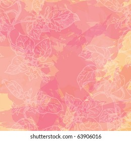 grunge floral background with paint texture