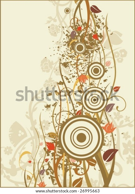 Grunge floral background, vector illustration series.