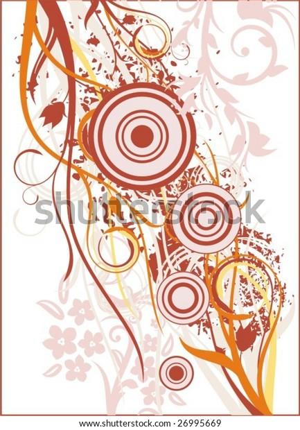 Grunge floral background, vector illustration series.