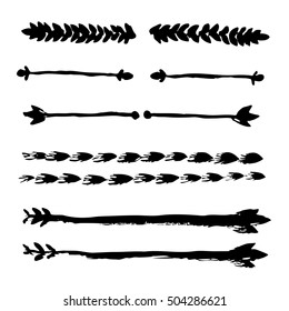 Grunge floral borders; hand drawn vintage elements; ink dividers and vignettes; vector set