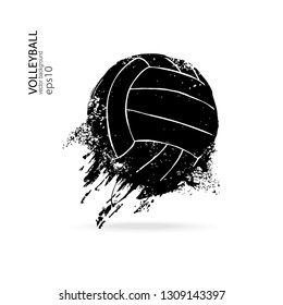 Grunge flying volleyball isolated on white background. Dirty vector element for sports design, print on T-shirt, splashes.