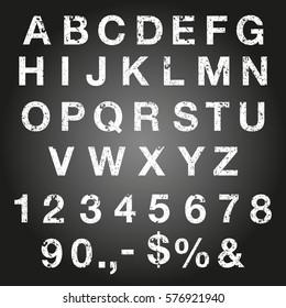 Grunge font letters set.