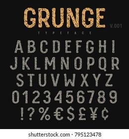 Grunge font. Rough stamp texture effect. Vintage typeface. Vectors