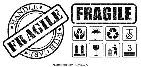 Grunge fragile black set stamps