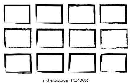 Grunge frame border set vector illustration