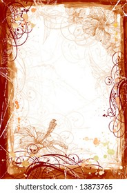 Grunge frame - Hibiscus flowers & watercolor paint. Elements on separate layers