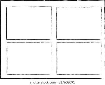 Grunge frame set vector template black and white