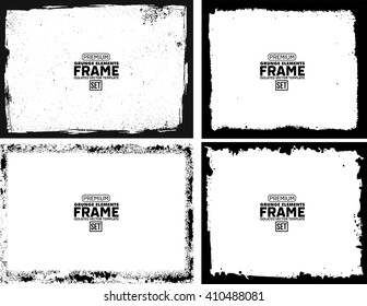 Grunge frame texture set - Abstract design template. Isolated stock vector illustration